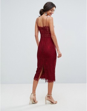 photo Lace Cami Midi Pencil Dress by ASOS TALL, color Oxblood - Image 2