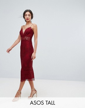 photo Lace Cami Midi Pencil Dress by ASOS TALL, color Oxblood - Image 1