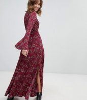 photo Retro Bell Sleeve Maxi Dress by Band of Gypsies, color Burg Taupe - Image 1