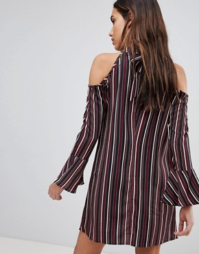 photo Pinstripe Cold Shoulder Dress by Band of Gypsies, color Black Bordeaux - Image 2