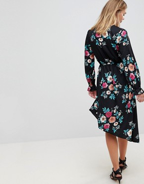 photo Asymmetric Hem Floral Dress by Influence, color Multi - Image 2