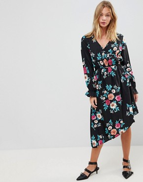 photo Asymmetric Hem Floral Dress by Influence, color Multi - Image 1