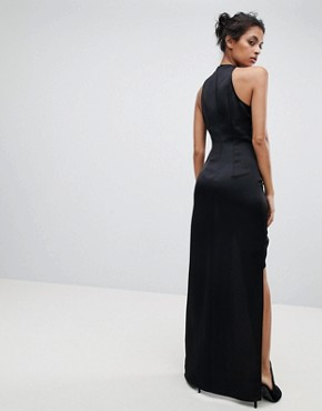 photo Wrap Front Maxi Dress with Asymmetric Split Detail by AQ/AQ, color Black - Image 2