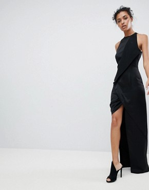 photo Wrap Front Maxi Dress with Asymmetric Split Detail by AQ/AQ, color Black - Image 1