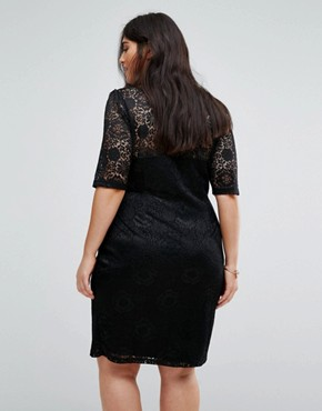 photo Lace Dress with Side Ruching by Yumi Plus, color Black - Image 2