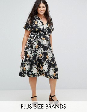 photo Wrap Front Midi Dress in Floral Print by Yumi Plus, color Black - Image 1