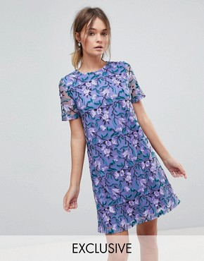 photo Allover Embroidered Aline Shift Dress by Dolly & Delicious, color Purple Multi - Image 1