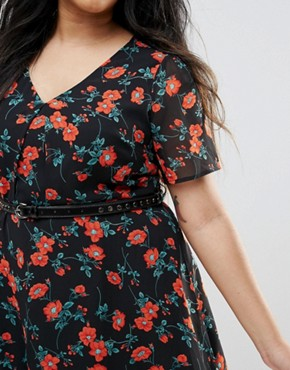 photo Poppy Print Dress with Studded Belt by Yumi Plus, color Black - Image 3