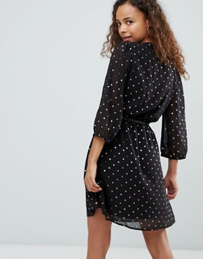 photo Dress in Foil Star Print with Studded Belt by Yumi Petite, color Black Floral - Image 2