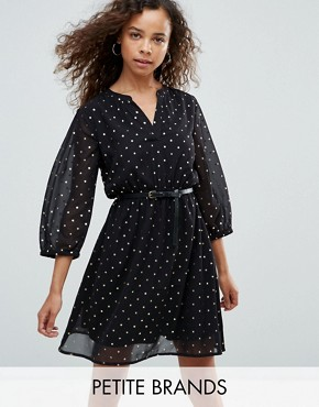 photo Dress in Foil Star Print with Studded Belt by Yumi Petite, color Black Floral - Image 1
