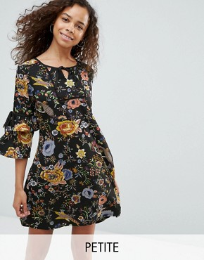 photo Smock Dress with Necktie and Tie Sleeve Detail by Yumi Petite, color Black Floral - Image 1