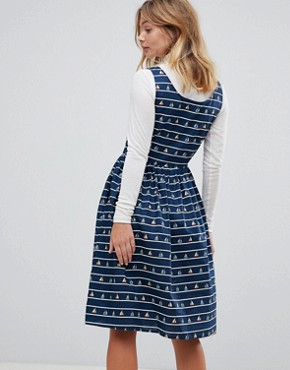 photo Sail Away Printed Sundress by Sugarhill Boutique, color Navy - Image 2