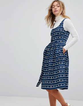 photo Sail Away Printed Sundress by Sugarhill Boutique, color Navy - Image 1