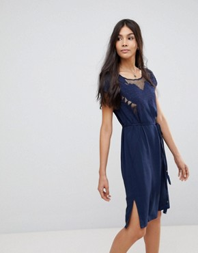 photo Butterfly Cutwork Embroidered Dress by Sugarhill Boutique, color Navy - Image 1