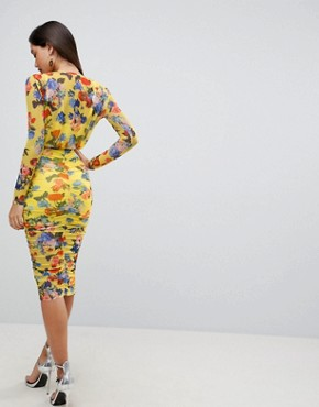 photo Printed Mesh Pencil Dress with Ruched Skirt by ASOS DESIGN, color Yellow Floral - Image 2