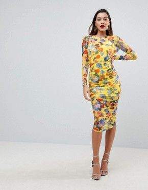 photo Printed Mesh Pencil Dress with Ruched Skirt by ASOS DESIGN, color Yellow Floral - Image 1