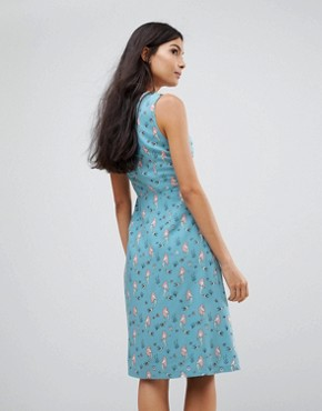 photo Mermaid Print Fit & Flare Dress by Sugarhill Boutique, color Dusky Blue - Image 2