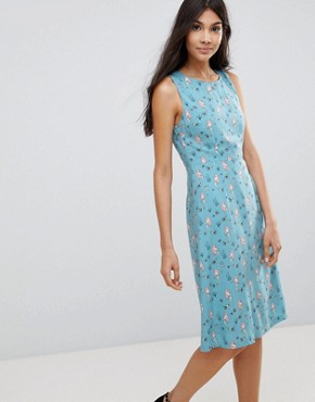 photo Mermaid Print Fit & Flare Dress by Sugarhill Boutique, color Dusky Blue - Image 1