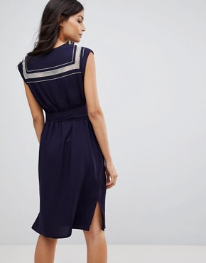 photo Ahoy Cutwork Embroidered Dress by Sugarhill Boutique, color Navy - Image 2