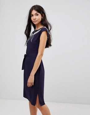 photo Ahoy Cutwork Embroidered Dress by Sugarhill Boutique, color Navy - Image 1