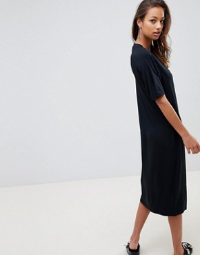 photo Midi T-Shirt Dress with Lace Up by ASOS, color Black - Image 2