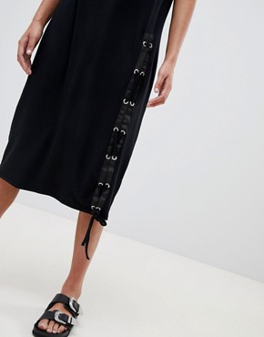 photo Midi T-Shirt Dress with Lace Up by ASOS, color Black - Image 3
