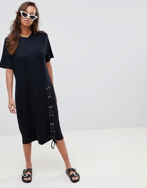 photo Midi T-Shirt Dress with Lace Up by ASOS, color Black - Image 4