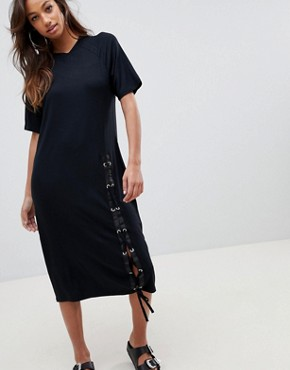photo Midi T-Shirt Dress with Lace Up by ASOS, color Black - Image 1