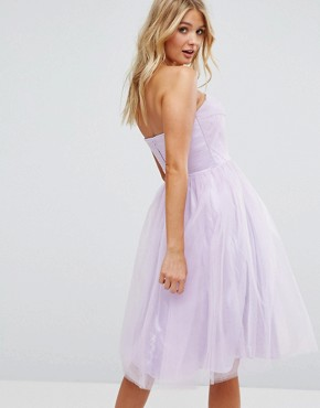 photo Bandeau Tulle Dress by Hell Bunny, color Lavender - Image 2