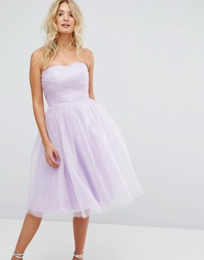 photo Bandeau Tulle Dress by Hell Bunny, color Lavender - Image 1