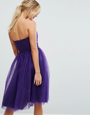 photo Bandeau Tulle Dress by Hell Bunny, color Purple - Image 2