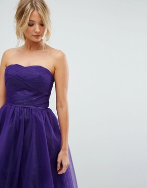 photo Bandeau Tulle Dress by Hell Bunny, color Purple - Image 3