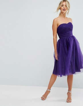 photo Bandeau Tulle Dress by Hell Bunny, color Purple - Image 4