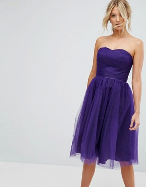photo Bandeau Tulle Dress by Hell Bunny, color Purple - Image 1