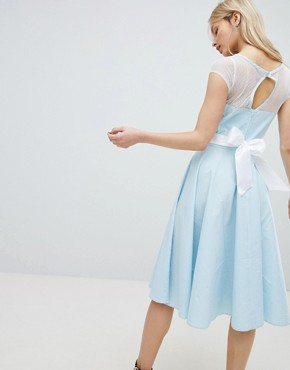 photo 50's Prom Dress with Bow Detail by Hell Bunny, color Blue - Image 1