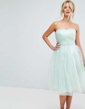 photo Bandeau Tulle Dress by Hell Bunny, color Mint - Image 1