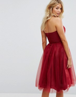 photo Bandeau Tulle Dress by Hell Bunny, color Red - Image 2