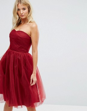 photo Bandeau Tulle Dress by Hell Bunny, color Red - Image 1