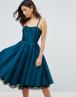 photo Polka Dot Prom Dress by Hell Bunny, color Blue - Image 1