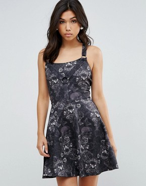 photo Jaquard Skater Dress by Hell Bunny, color Black - Image 1