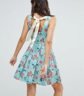 photo 50's Floral Skater Dress by Hell Bunny, color Turquoise - Image 2