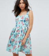 photo 50's Floral Skater Dress by Hell Bunny, color Turquoise - Image 1