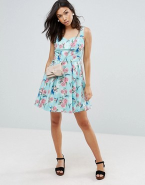photo 50's Floral Skater Dress by Hell Bunny, color Turquoise - Image 4