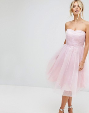 photo Bandeau Tulle Dress by Hell Bunny, color Pink - Image 1