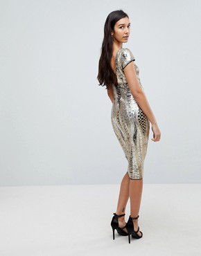 photo Allover Sequin Midi Dress by TFNC Tall, color Gold - Image 2