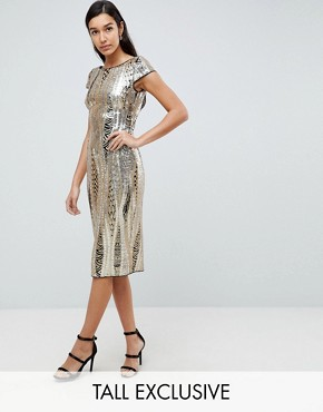 photo Allover Sequin Midi Dress by TFNC Tall, color Gold - Image 1