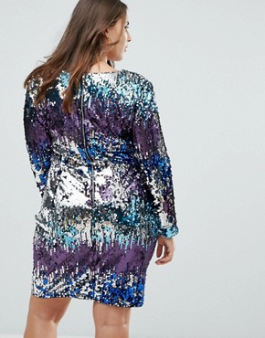 photo Long Sleeve Sequin Mini Dress in Multi Sequin with Shoulder Pads by TFNC Plus, color Multi Sequin - Image 2