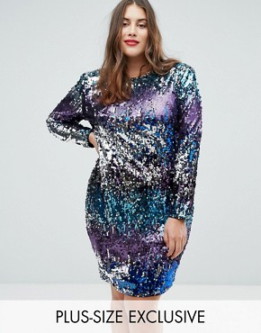 photo Long Sleeve Sequin Mini Dress in Multi Sequin with Shoulder Pads by TFNC Plus, color Multi Sequin - Image 1