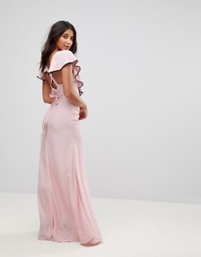 photo Dorchester Ruffle Front Maxi Dress by Millie Mackintosh, color Pink - Image 2