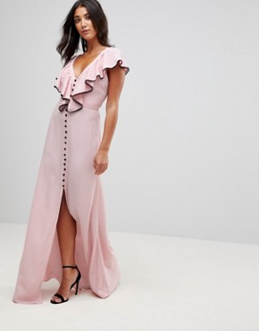 photo Dorchester Ruffle Front Maxi Dress by Millie Mackintosh, color Pink - Image 1